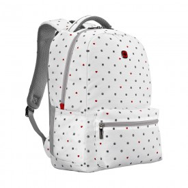 """COLLEAGUE 16"""" LAPTOP BACKPACK WITH TABLET POCKET white heart print"""