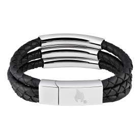 Zippo Steel Braided Leather Bracelet 20 cm