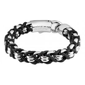 Zippo Steel Braided Leather Bracelet 22 cm